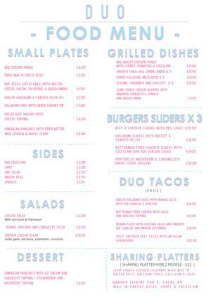 Menu 2 from Duo London - Bar - Restaurant - Club's menu images'