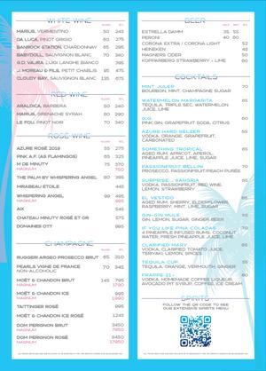 Menu 2 from Azure Beach's menu images'