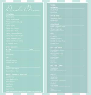 Menu 1 from Neverland London's menu images'