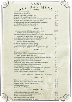 Menu 1 from Goat's menu images'