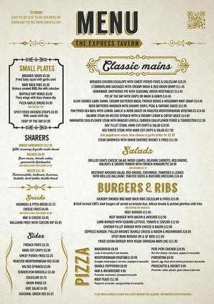 Menu 1 from Express Tavern's menu images'