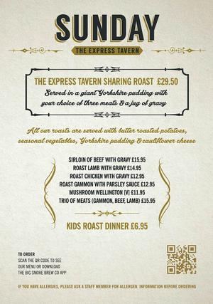 Menu 2 from Express Tavern's menu images'